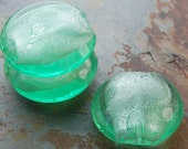 Semi Translucent Celadon Green Round 29mm Lampwork Beads-  5