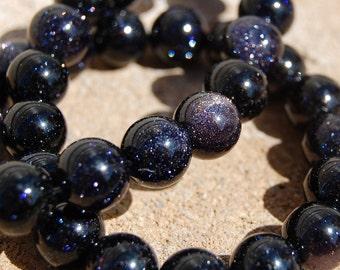 4mm Blue Goldstone -15 inch strand