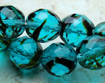 12mm Czech Glass Beads Faceted Round in Dark Chocolate and Turquoise Blue- 8 Czech Beads