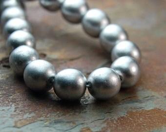 4mm Czech Satin Silver Druk Beads -16 inch strand
