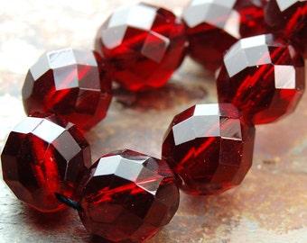 Red Garnet 8mm Faceted Czech Glass Beads   -16 inch strand