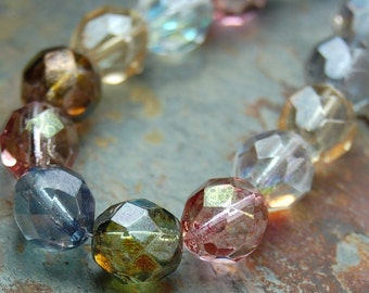 6mm Czech Fire Polished Glass Faceted Round Beads in Multi-Color luster- 25 Pieces