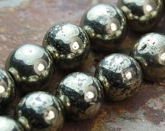 8mm (A grade) Pyrite Round Beads  -15.5