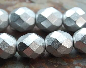 Czech Glass Beads Faceted Silver 8mm  -25 czech beads