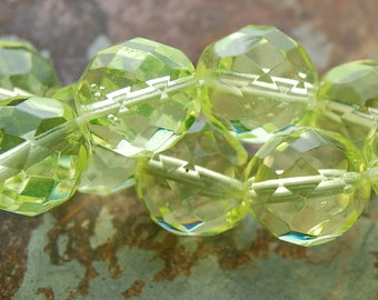8mm Czech Beads Faceted  in Lime Green -25