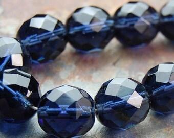 12mm Montana Blue Czech Glass Beads  -8