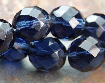 10mm Montana Blue Czech Glass Beads   -10