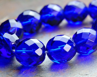 12mm Cobalt Blue Czech Glass Beads   -8