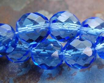 12mm Sapphire Blue Czech Glass Beads   -8