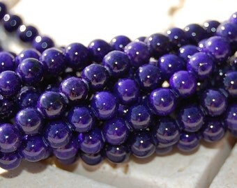 4mm Fossil Stone 16 inch strand Deep Violet Purple