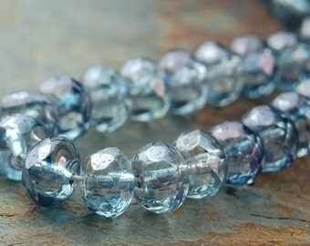 Czech Glass Fire Polished Faceted Beads in Crystal Blue luster- 25 Pieces