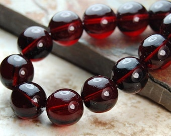 Czech Glass Beads 8mm Translucent  Garnet  -50