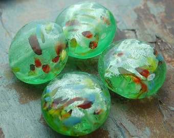Confetti Green Round 20mm Lampwork Beads with-  10