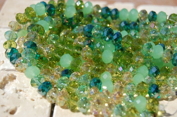 Mountain Meadows- Glass Rondelles 8x5 Crystal Beads -8 inch strand