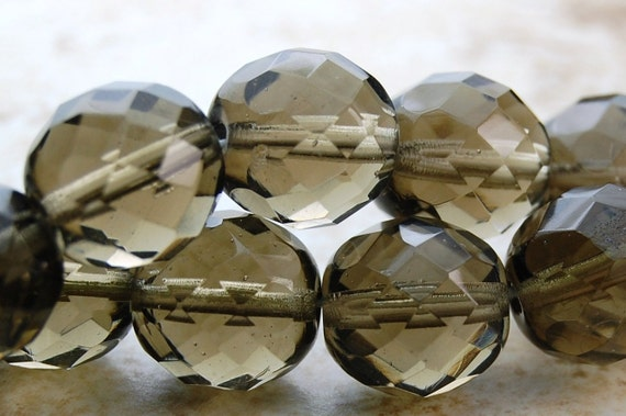12mm Czech Beads Faceted  in Light Smoky Grey -8