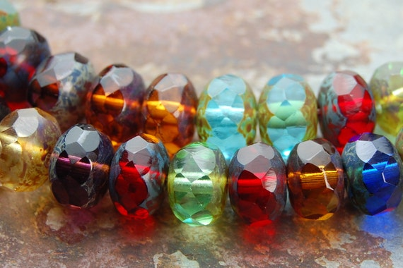 Czech Glass Picasso Rondelle 9x6mm Beads-  25
