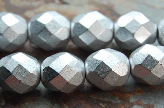 reserved......Czech Glass Beads Faceted Silver 8mm  -200 czech beads