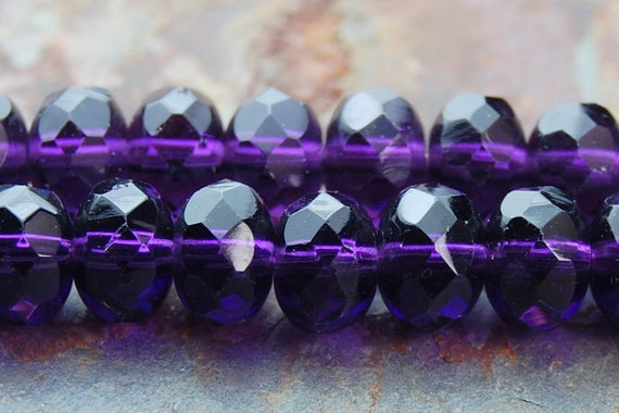 Purple Tanzanite Glass Czech Beads 7x5mm Faceted Rondelles - 25