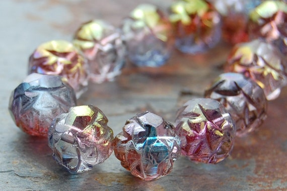 RESERVED....Czech Glass Firepolished Rosebud Flower Beads in Crystal Blue Amethyst  -80 Czech Beads