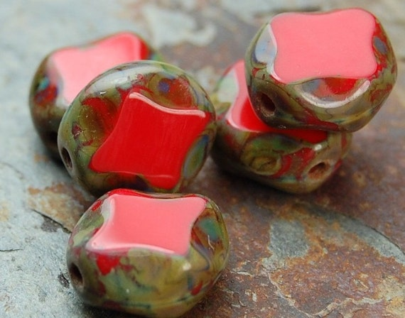 Czech Glass Beads Red Picasso Diamonds  9x8mm - last 12