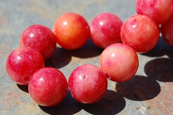 Berry Pink Coral Jade 10mm Round Beads -last 12