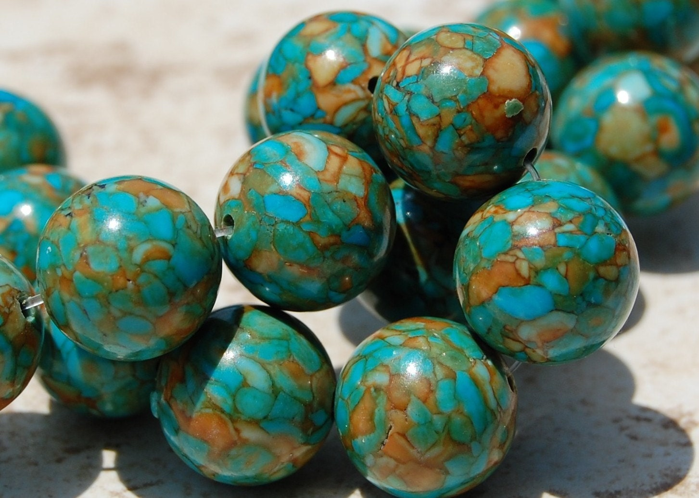 Mosaic Turquoise Beads 14mm Round 16 Inch Strand