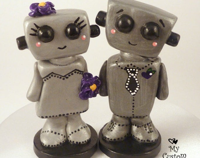 Love Bots Bride and Groom Wedding Cake Topper Kawaii