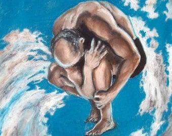 man in clouds original art