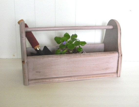 SALE 15% off - Coupon code SUPERSALE - Cottage Chic Garden Caddy - Shabby and Chic Tool Box - Upcycled Craft Caddy Box