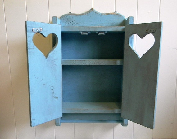 Hand Painted Ocean Blue Wall Cabinet - Beach Cottage Vanity Shelf - Cottage Chic Cabinet