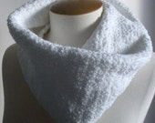Scarf Prices Falling ready for Winter - White Cowl - Neckwarmer Sparkling and Soft - Looks like moonlit snow.  Handmade.