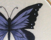 Amethyst Butterfly - Hand Embroidered in Amethyst and Ink color silk shaded hoop art