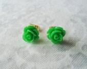 Green Flower Earrings, Green Studs, Rose Earrings, Gold Posts (Small)