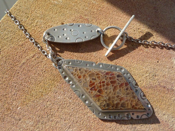 Fossilized Dinosaur Bone Hand Stamped Sterling Silver Necklace