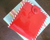 Red Vinyl Hand Laced Girl's Wallet