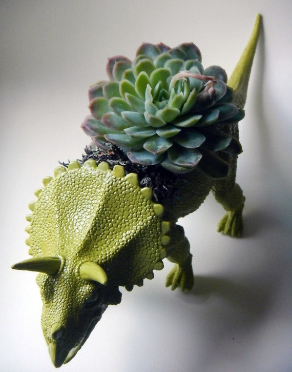 Moss Green Dinosaur Planter - Modern Triceratops Flower Pot - No Plant Included