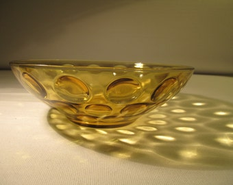 amber glass optic dot bowl