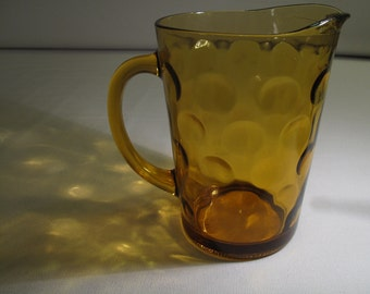 hazel atlas/continental can co. amber glass optic dot pitcher