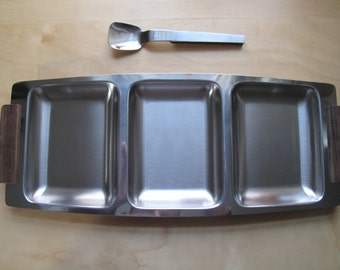 burnco stainless triple tray with serving spoon