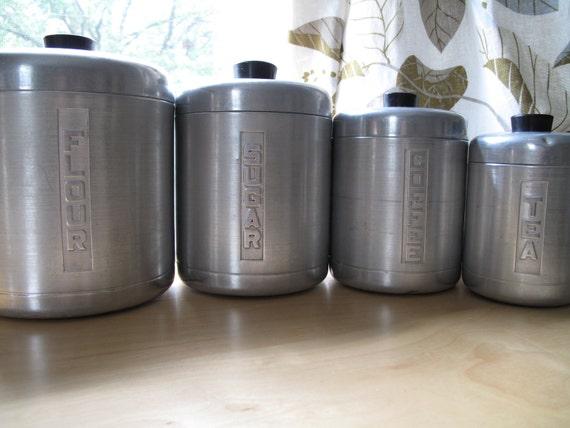 vintage flour sugar tea coffee set