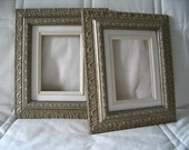 A pair of 5X7 silver-gold ornate picture frames for canvas - linen liner included
