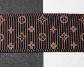 "Designer Inspired Golden Brown & Dark Chocolate Brown Printed Grosgrain Ribbon 5/8"""