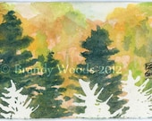 Fall Colors Pine Maple Trees Landscape Watercolor Painting SFA Original Art ACEO Brandy Woods