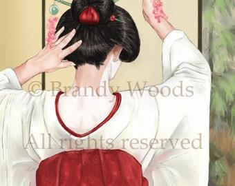 Beautiful Japanese GEISHA ACEO Maiko fantasy art print - Brandy Woods