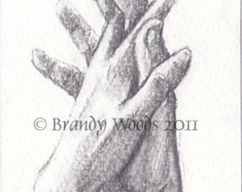 Romance Sweet Love Heart Hands Wedding ACEO SFA art print Brandy Woods