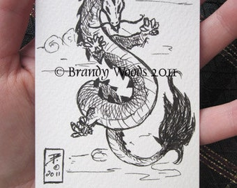 Feng Shui Eastern Chinese Japanese YEAR of the DRAGON art original ACEO drawing Brandy Woods