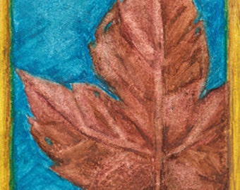 Copper Canada Maple Tree Leaf Painting ACEO artist art Brandy Woods
