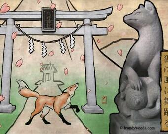 Fox Kitsune Landscape Chinese Japanese Brush Painting Art Print 8x10 Brandy Woods
