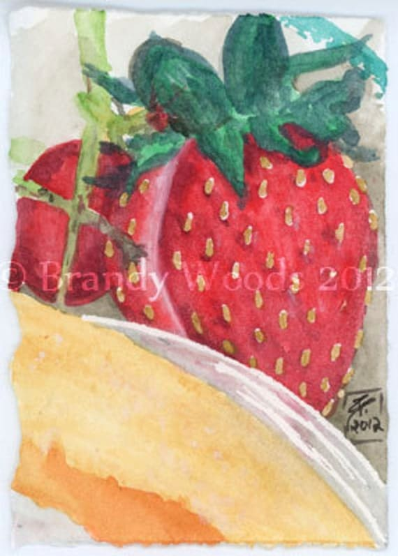 Strawberry Fruit Breakfast Watercolor Painting SFA ACEO art print Brandy Woods