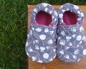 Baby Shoes for Girls - White Flowers on Grey / Gray With Pink Lining - Custom Sizes 0-24 months